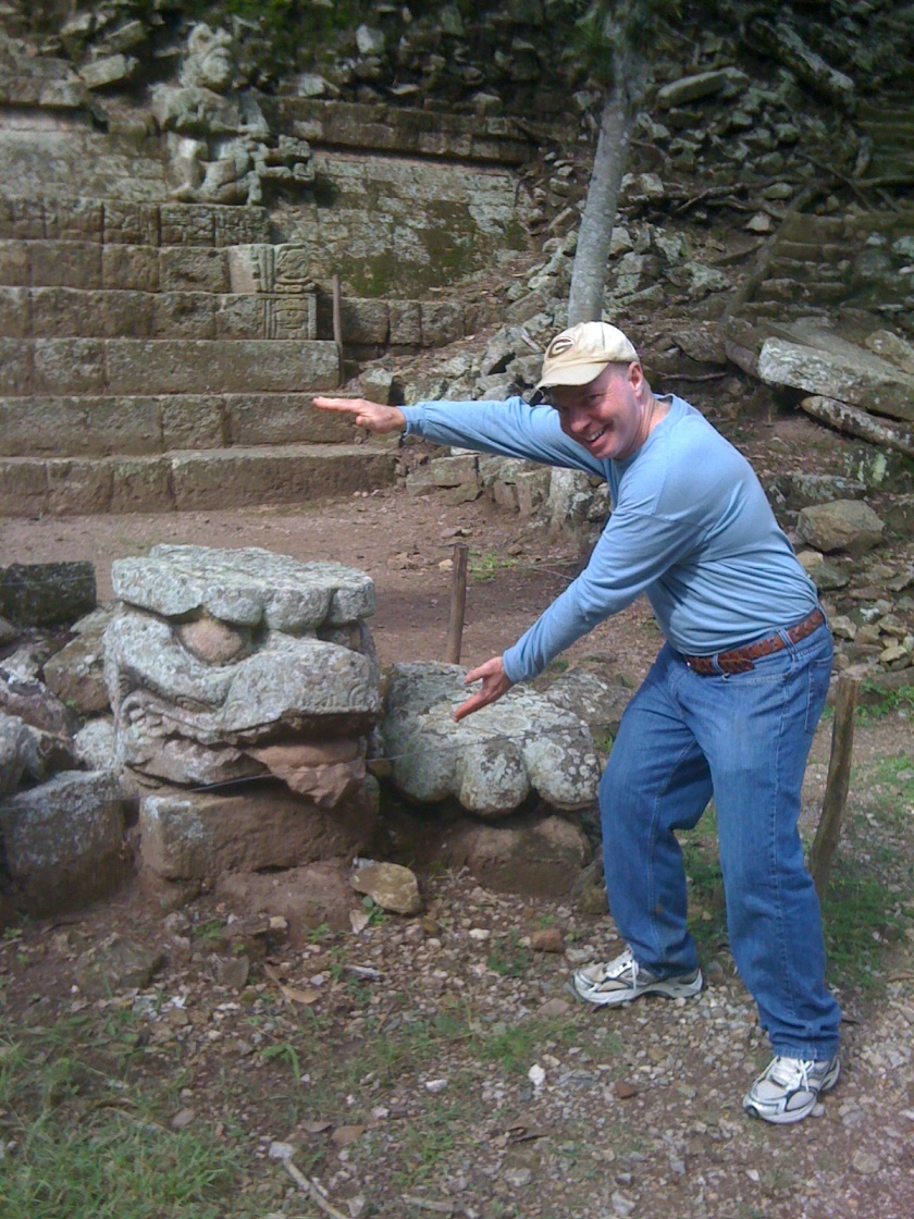 Day 2 Copan Ruins Steve Kunkel and the ancient gator chomp