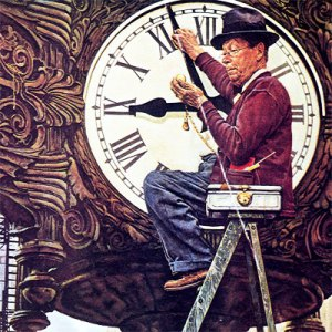 Clock Repairman by Norman Rockwell, 1945