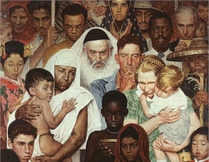 """""""Golden Rule (Do Unto Others) Norman Rockwell, 1961"""