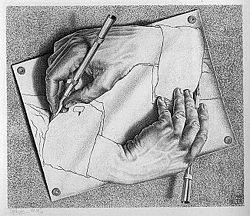 Drawing Hands by MC Escher, 1948