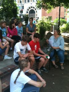 Aimee and the Middle School Youth of Pleasant Hill Pres in Asheville City Park, June 2012