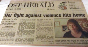 """Here fight against violence hits home"" from The Birmingham Post-Herald, Thursday April 13, 2000."