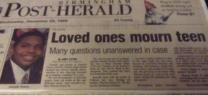 """Loved Ones Mourn Teen"" from The Birmingham Post-Herald, Wednesday Dec. 29, 1999"
