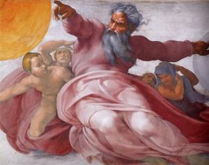 portrait of God on the Sistine Chapel by 16th Century Renaissance artist Michaelangelo