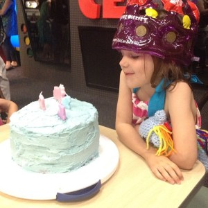 "Katie celebrating her 5th Birthday with a ""My Little Pony: Friendship Is Magic"" cake at Chuck E. Cheese"