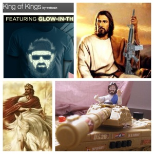 """King of Kings"" Breaking Bad T-shirt, Cowboy Jesus, Jesus with Sword & Steed, and Tank Jesus"