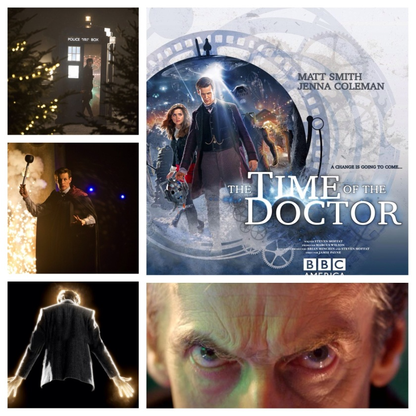 "Images from the BBCs Doctor Who Christmas Special (12-25-13) ""The Time of the Doctor"" except for the picture of the man with the eyes, i.e. Peter Capaldi, the next Doctor. That image is from the recent DW 50th Anniversary Special which gave a brief glimpse of the forthcoming doctor from a future time. (It's all wibbly wobbley timey wimey)"