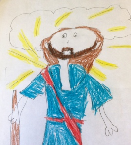 Prior to the sermon, I asked the children of the church to use the crayons and paper in their worship bags to draw their depiction of the transfigured Jesus. This one is by MW. She depicts the scene better than most professional artists.