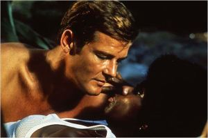 "1973 James Bond in ""Live and Let Die"" with Roger Moore and Gloria Hendry. From Google Images"