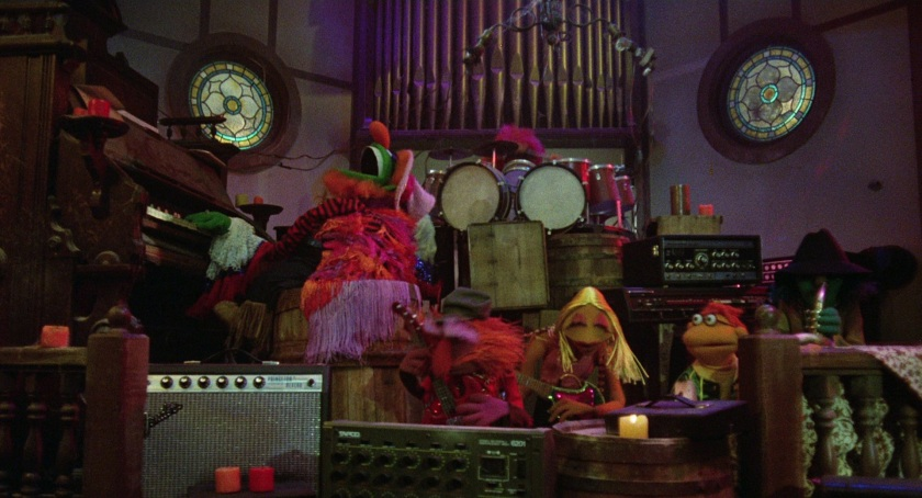 "Image: The Electric Mayhem performing ""Can  You Picture That?"" in an old country church"